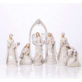 Crèche de Noël moderne résine - 7 pièces