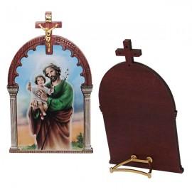 Cadre en bois avec St Joseph avec croix
