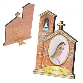 Cadre de la Vierge de Medjugorje en forme Eglise