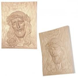 Cadre avec Visage du Christ -  sculpté dans bois naturel