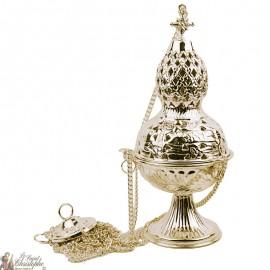Encensoir doré  sculpté avec croix