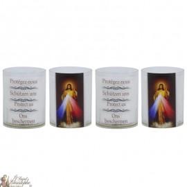 Bougies Veilleuses au Christ Miséricordieux - 4 pièces